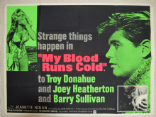 My Blood Runs Cold, UK Quad Film Poster, Troy Donahue,  1965